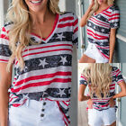 Women Short Sleeve V Neck T-Shirt Blouse Patriotic Flag Printed Tank Tops Blouse