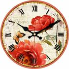 Wall Clock Wood Flower and Butterfly Style Sweet House Decor Wall Art Gift