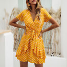 Women V Neck Wrap Mini Dress Ladies Summer Holiday Spotted Ruffle Sun Dresses 16