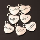 10/50pcs Charms Family Members Heart Pendant Tibetan Silver Jewerly Necklace E image