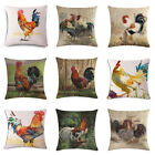 "18""Cock Rooster Printing Pillow Case Home Decor Linen Sofa Waist Cushion Cover image"