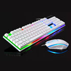 LED Gaming Keyboard and Mouse Set Rainbow Multi-Colored Changing Backlight Mouse