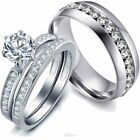 Couple Rings Stainless steel CZ Wedding Band White Gold Filled Women's Ring Sets image