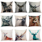 Linen Pillow Case Back Throw Cushion Cover Sofa Decorative Animal Deer Pattern image