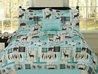 Fishing Lakehouse Cabin Lodge Comforter Bedding Set Bear Fish Deer Rustic, Blue
