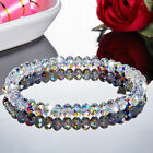 Crystal Aurora Borealis Transparent Geometric Beads Bracelet Bangle Wedding image