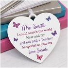 Personalised Teacher Heart Plaque Gift - Teacher Assistant Nursery Leaving Gifts