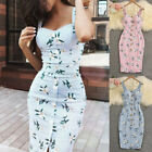 Summer Women Bandage Sleeveless Bodycon Dress Floral Evening Party Gown Dresses