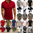 Mens Short Sleeves  Pique Polo Shirts Summer Casual Golf Top Workout T-shirt Tee image