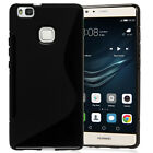 Black S Line S-Line Gel Case Cover Skin For Huawei P9 Lite Mobile Phone