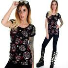 BANNED SUGAR SKULLS T SHIRT  PUNK GOTHIC SLASHED SHORT SLEEVES