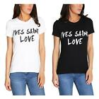 New Ladies Plus Size Yves Saint Love Slogan Print Summer T-Shirts Tops 8-26