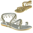 Womens Flat Strappy Sandals Ladies Crystal Pearl Toe Post Summer Holiday Shoes