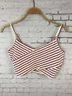 FOREVER 21 TANK TOP MEDIUM WOMEN'S CROP TOP RED WHITE STRIPED CUTE SOFT (CAY)