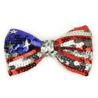 Patriotic USA Flag Red/White/Blue Sequin Bow Tie with Elastic Band