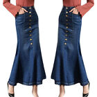 Womens Slim Long Skirt High Waist Button Pocket Fishtail Denim Maxi Skirts t