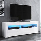 Meuble tv ALAN 140 cm blanc noir gris LED optionnel style moderne