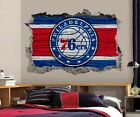 Philadelphia 76ers Wall Art Decal 3D Smashed Basketball NBA Wall Decor WL202 on eBay