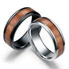 8mm Men's Stainless Steel Band Ring Tungsten Steel Wood Inlaid Silver Size 6-13 image