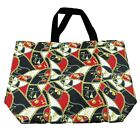 Large Canvas Tote Bag-Beach Bag-The Stylish Pattern Chain Tote Bag, Black, Red