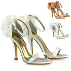 Womens Bridal Shoes Stiletto Heel Ladies Satin Flower Bridesmaid Strappy Sandals