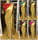 Designer Indian Gold Saree Bridal Wedding Party Wear Traditional Sari Blouse KP
