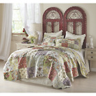 BEAUTIFUL XXL VINTAGE PATCHWORK ROSE RED IVORY PURPLE YELLOW BEDSPREAD QUILT SET image