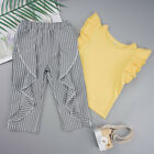 Kids Girls Summer Outfits Set Frill Sleeve Tops Striped Ruffled Crop Loose Pants