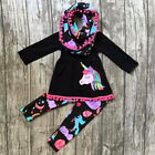 US Unicorn Kids Baby Girl Outfit Clothes T-shirt Top Dress+Floral Pants Leggings
