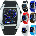 Mens RPM Turbo Blue Flash LED Sport Car Meter Dial Watch Wristwatch Gift US Ship image
