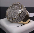 Elvis Presley TCB Deluxe Big Round LAB Austrian Crystal Gold Plated Rocker Ring