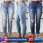 Womens Slim Fit Jeans Sexy Hollow Out Leggings Ripped Denim Pencil Jeans Autumn