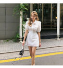 Women's fashion temperament short-sleeved slim fit hollow-out dress KREDM20753#