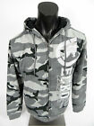 Mens ECKO UNLTD Fleece Zip Front Hoodie Jacket Grey City Camo w/ Varsity Logo