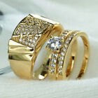 Luxury 18K Gold Plated Ring Set Men Women Couple Ring Wedding Engagement Jewelry