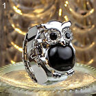 Women Shiny Rhinestone Owl Case Stainless Steel Elastic Finger Ring Watch Mystic