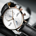 Men's Waterproof Leather Watch Military Chronograph Date Quartz Wrist Watches US image
