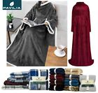 Sherpa Fleece Wearable Blanket With Sleeves And Pocket Micro Plush Warm Snuggie image