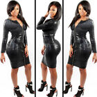 Sexy Bodycon Wet Look Clubwear Knee-length Bandage Snake Latex Leather Dress