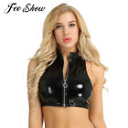 Sexy Wetlook Slim Crop Tank Top Patent Leather Sleeveless Stand Collar Zipper