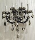 """Lyre Maria Theresa 5 Light SMOKE Crystal Candle Venetian Wall Sconce D15"""" x H20"""""""