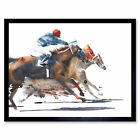 Racing Horses With Jockey Framed Wall Art Print 9x7