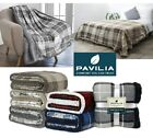 Plaid Sherpa Throw Blanket Fleece Checkered Soft Plush Warm Couch Bed Blanket image