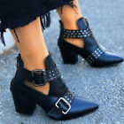 Womens Ankle Boots Pointed Toe Block Heel Chunky Booties Zip Up Shoes Size 3-6.5