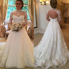 Women's Lace Long Sleeve Backless Wedding Bridesmaid Ball Gowns Prom Swing Dress