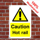 Caution hot rail hotel safety sign HOT20 durable and weatherproof