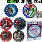 CHILDRENS BEDROOM WALL CLOCK 25 CM STAR WARS AVENGERS SPIDERMAN PJ MASKS BOXED