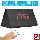 Modern LED Desk Alarm Clock Thermometer Timer Calendar New Modern Wooden Wood US