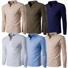 US STOCK Men's Linen Long Sleeve V-Neck Button Casual T-Shirt Loose Tops Blouse image