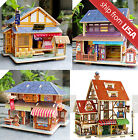 Norway Europe Wooden House Dollhouse Miniature DIY Kit Train Station Church
